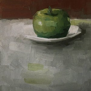 (CreativeWork) Apple with plate.   by Damien Venditti. oil-painting. Shop online at Bluethumb.