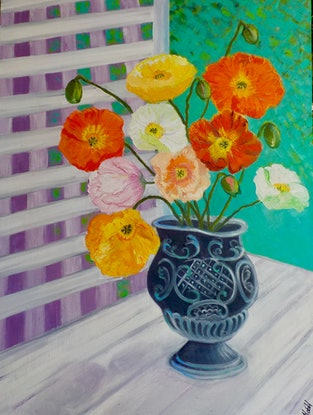 (CreativeWork) Poppies in Antique Urn by Kerry Ann Harvey. Oil Paint. Shop online at Bluethumb.