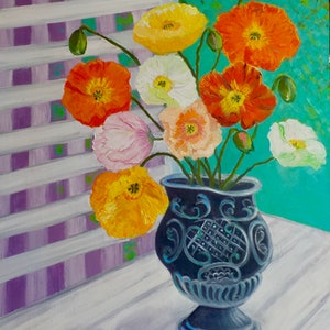 (CreativeWork) Poppies in Antique Urn by Kerry Ann Harvey. oil-painting. Shop online at Bluethumb.