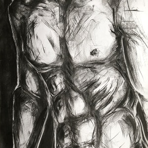 (CreativeWork) Male Life Study in Charcoal 2 Sept 2018, Ref-1014 by Phil Schulz. drawing. Shop online at Bluethumb.