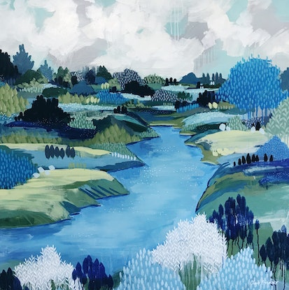 (CreativeWork) The End Of Winter, modern landscape painting by Clair Bremner by Clair Bremner. Acrylic Paint. Shop online at Bluethumb.