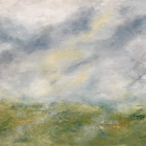 (CreativeWork) Spring, misty morning by Marlene Willson. arcylic-painting. Shop online at Bluethumb.