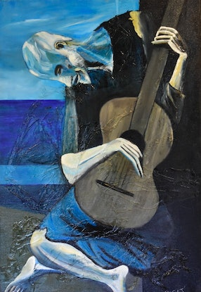 (CreativeWork) the old guitarist II by Rafeal Jacoub. Oil. Shop online at Bluethumb.