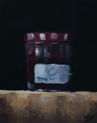 (CreativeWork) Cherry conserve by Damien Venditti. Oil Paint. Shop online at Bluethumb.