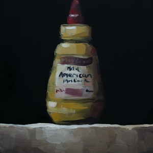 (CreativeWork) Mild American mustard by Damien Venditti. oil-painting. Shop online at Bluethumb.