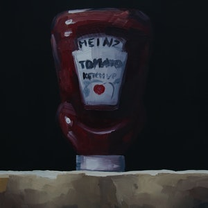 (CreativeWork) Heinz Ketchup by Damien Venditti. oil-painting. Shop online at Bluethumb.