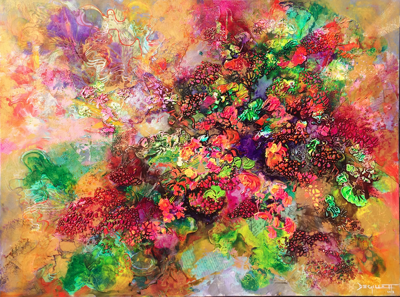 (CreativeWork) Geranium abundance by De Gillett Cox. mixed-media. Shop online at Bluethumb.