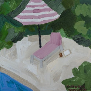 (CreativeWork) Lula's Summer Hideaway by Katherine Warburton. arcylic-painting. Shop online at Bluethumb.