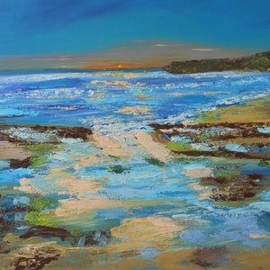 (CreativeWork) Somewhere Mollymook by Sharon Robards. oil-painting. Shop online at Bluethumb.