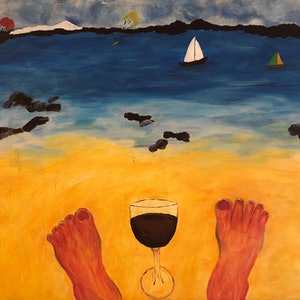 (CreativeWork) Feet around Aus, Hampton Beach, Dampier, WA by Kylie Chambers. arcylic-painting. Shop online at Bluethumb.