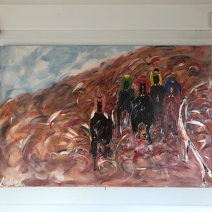 (CreativeWork) Outback Races by Kylie Chambers. acrylic-painting. Shop online at Bluethumb.