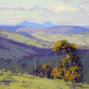 (CreativeWork) Cloud shadows across the landscape, Kanimbla by Graham Gercken. oil-painting. Shop online at Bluethumb.