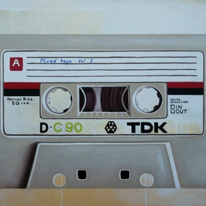 (CreativeWork) Mixed tape vol 1 - Retro series.  by Damien Venditti. oil-painting. Shop online at Bluethumb.