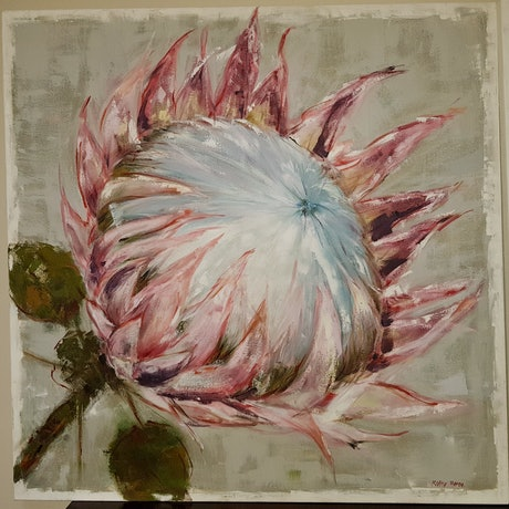(CreativeWork) King Protea2 by Kathy Heron. Oil Paint. Shop online at Bluethumb.