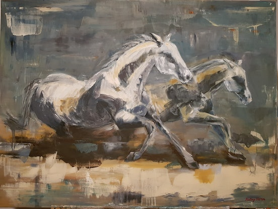 (CreativeWork) Horses galloping by Kathy Heron. Oil Paint. Shop online at Bluethumb.