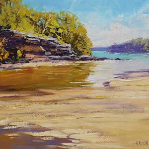 (CreativeWork) Low Tide Collins beach, Sydney by Graham Gercken. oil-painting. Shop online at Bluethumb.