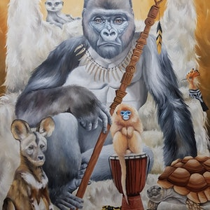 (CreativeWork) GORILLA GANG by Nicolee Payne. oil-painting. Shop online at Bluethumb.