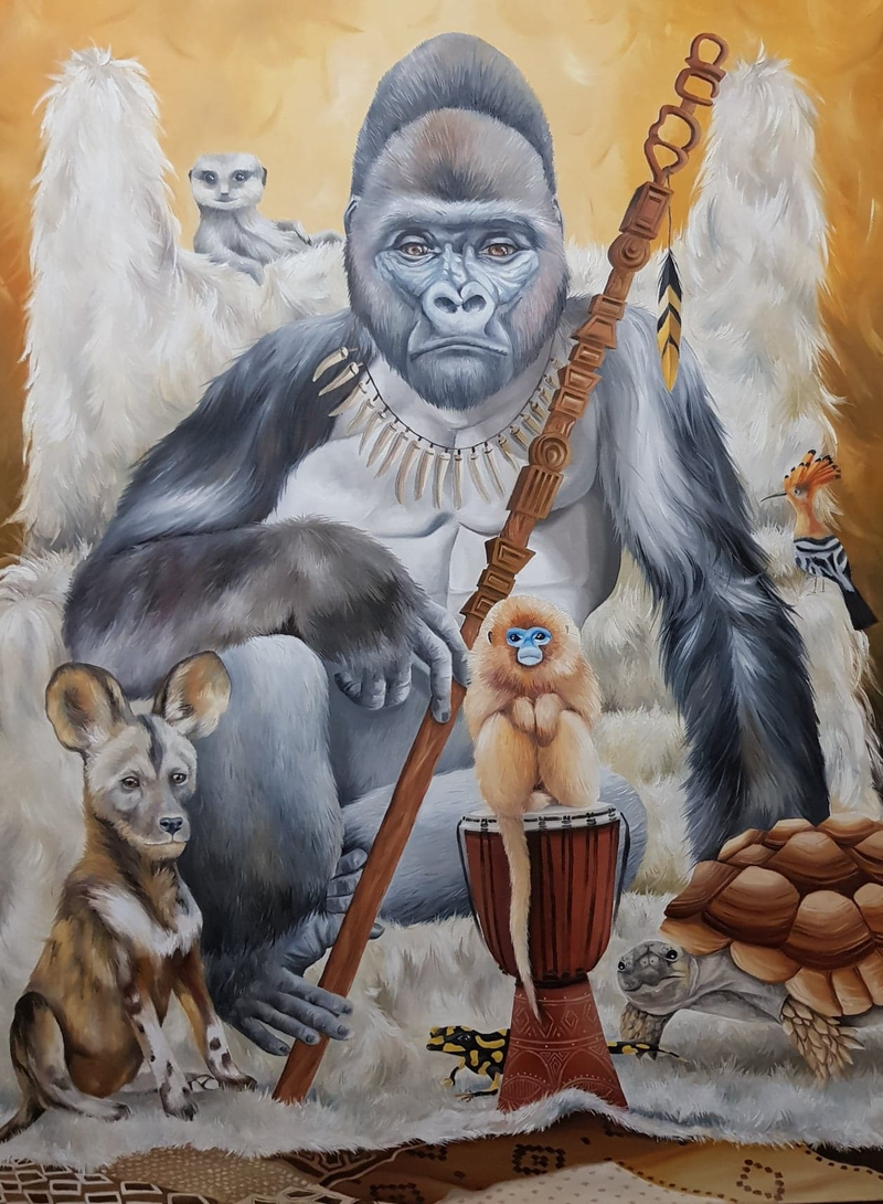 (CreativeWork) GORILLA GANG by Nicolee Payne. Oil Paint. Shop online at Bluethumb.