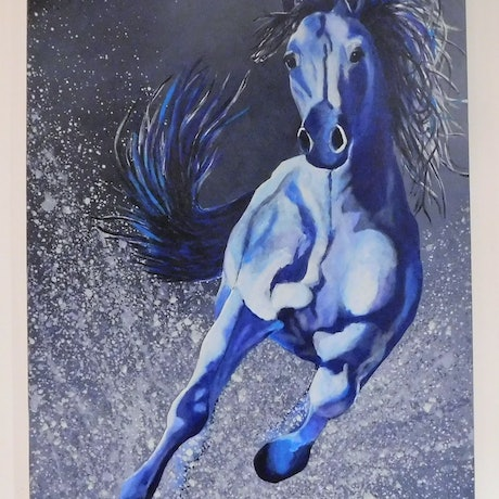 (CreativeWork) blue horse by Deb Krinas. Acrylic Paint. Shop online at Bluethumb.