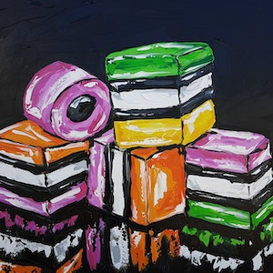 (CreativeWork) Nan's Lolly Jar  by Lisa Fahey. acrylic-painting. Shop online at Bluethumb.