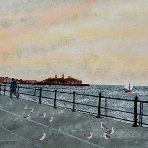 (CreativeWork) THE PIER by Lisa Dangerfield. arcylic-painting. Shop online at Bluethumb.