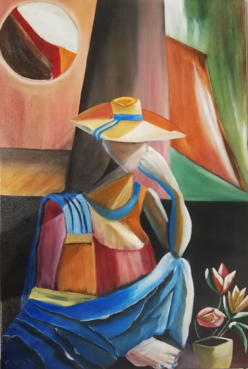 (CreativeWork) woman with one hand  by rafat yacoub. oil-painting. Shop online at Bluethumb.