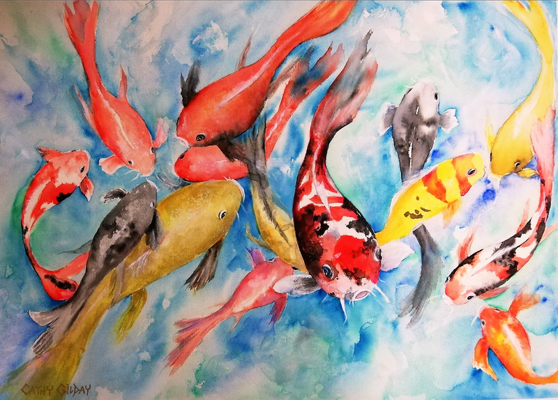 (CreativeWork) Rush Hour by Cathy Gilday. watercolour. Shop online at Bluethumb.