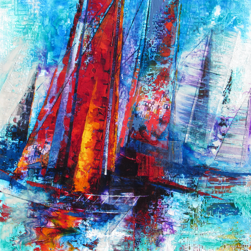 (CreativeWork) Racing on the Bay by De Gillett Cox. mixed-media. Shop online at Bluethumb.