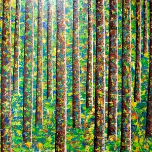 (CreativeWork) Magic Forest by seya hashemi. arcylic-painting. Shop online at Bluethumb.