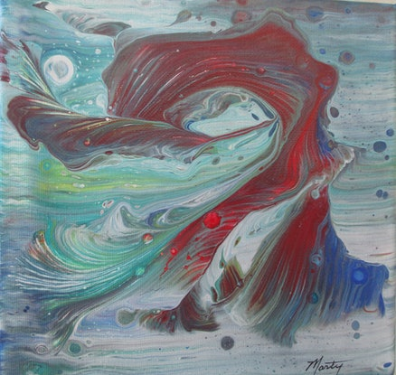 (CreativeWork) Abstract Waves by Marty Foster. Acrylic Paint. Shop online at Bluethumb.
