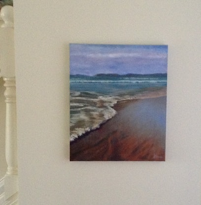 (CreativeWork) Ocean's Edge by Anne Strambi. Oil Paint. Shop online at Bluethumb.