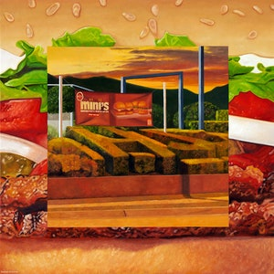 (CreativeWork) 'Home of the Whopper' by Donovan Christie. oil-painting. Shop online at Bluethumb.