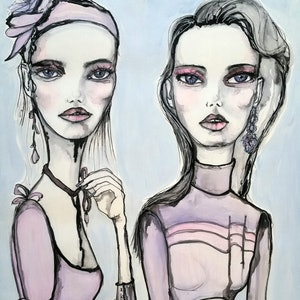 (CreativeWork) Number 5 Chantel and Zoe by Luisa manea. arcylic-painting. Shop online at Bluethumb.