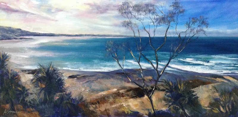 (CreativeWork) Green Point North - Seascape by Anne Strambi. oil-painting. Shop online at Bluethumb.