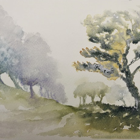 (CreativeWork) Winter Solstice by Lucinda Leveille. Watercolour Paint. Shop online at Bluethumb.