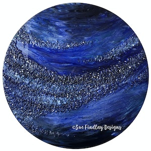 (CreativeWork) Midnight Storm - Resin on Wood by Sue Findlay. resin. Shop online at Bluethumb.