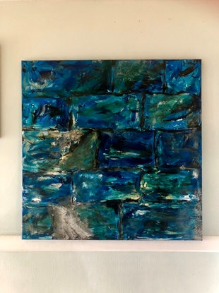 (CreativeWork) The Blue Wall by Kylie Chambers. Acrylic Paint. Shop online at Bluethumb.