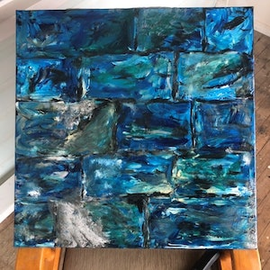 (CreativeWork) The Blue Wall by Kylie Chambers. arcylic-painting. Shop online at Bluethumb.