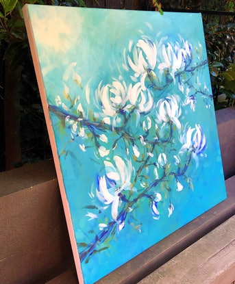 (CreativeWork) Magnolia Mist - Flowers Series  by Jen Shewring. #<Filter:0x00007fbcb23c1ce0>. Shop online at Bluethumb.