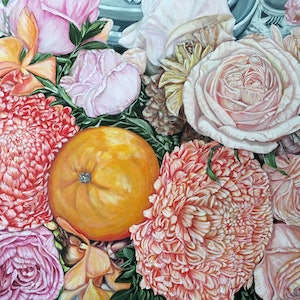 (CreativeWork) A LIFE TIME BLESSING - Orange And Chrysanthemum - LIMITED EDITION GICLEE PRINT Ed. 3 of 100 by HSIN LIN. print. Shop online at Bluethumb.