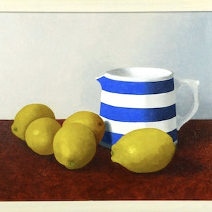 (CreativeWork) Jug with Lemons. 2018. by James McFarlane. oil-painting. Shop online at Bluethumb.