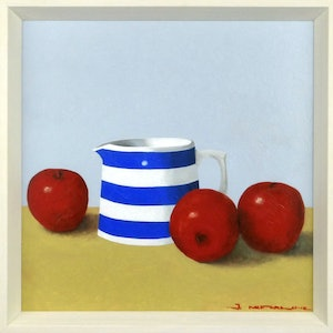 (CreativeWork) Jug with Apples by James McFarlane. oil-painting. Shop online at Bluethumb.