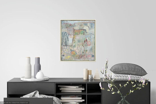 (CreativeWork) Spring Landscape by Robyn Kinsela. Oil Paint. Shop online at Bluethumb.