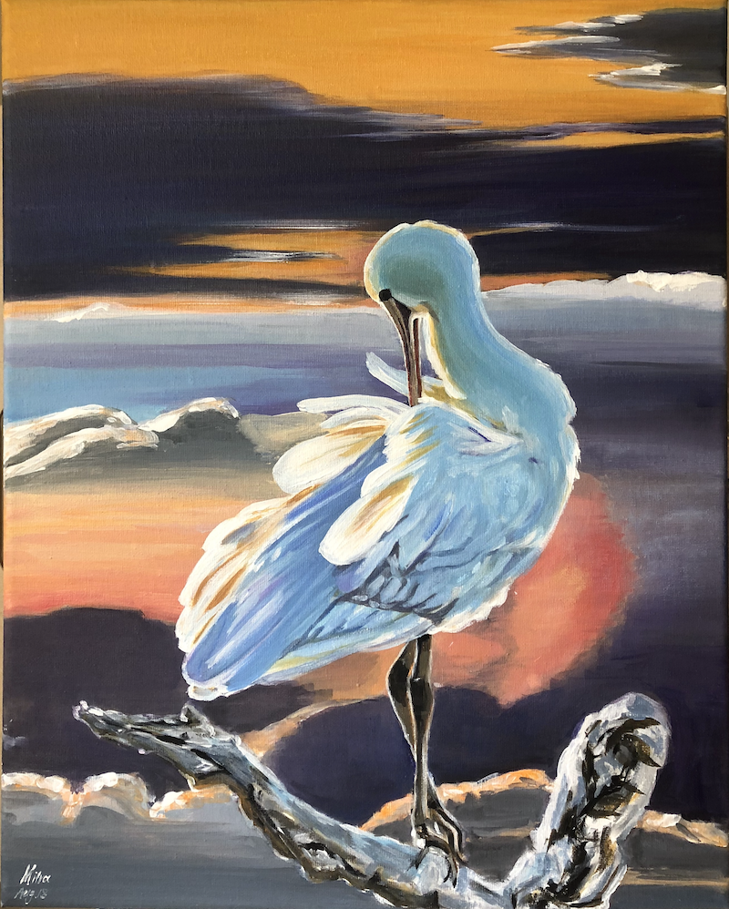 (CreativeWork) White Heron by Mitra Torki. arcylic-painting. Shop online at Bluethumb.