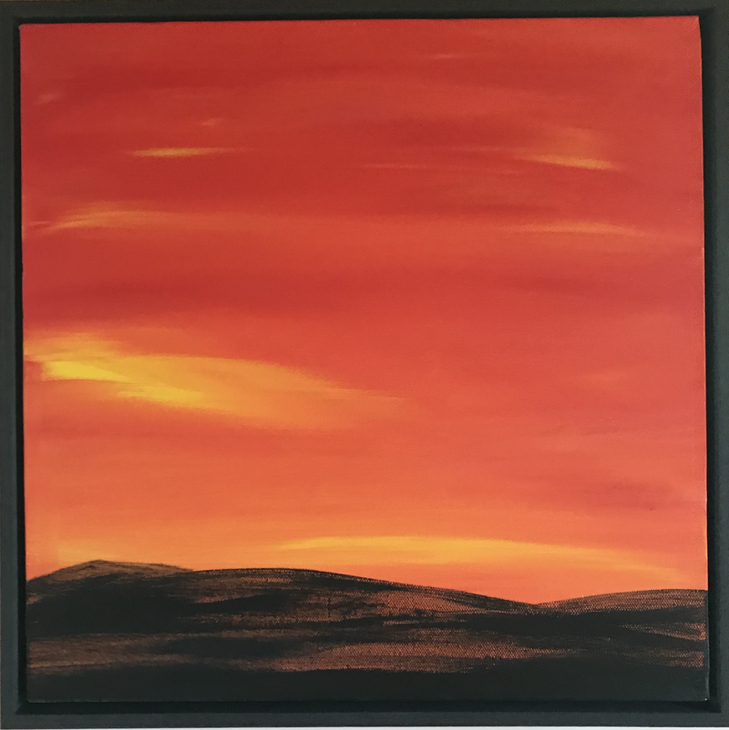 (CreativeWork) Sunset after the fires - 2018 by Fiona Cadd. oil-painting. Shop online at Bluethumb.