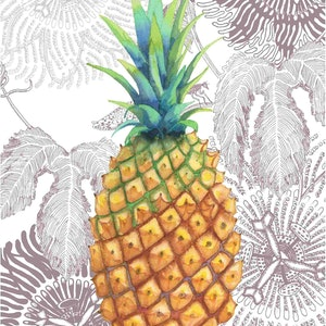 (CreativeWork) Gold Pineapple, print, edition 21 of 150 by Judith Boyes. print. Shop online at Bluethumb.