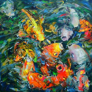 (CreativeWork) Koi Fish by Katerina Apale. arcylic-painting. Shop online at Bluethumb.