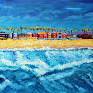 (CreativeWork) IMPERIAL BEACH, CALIFORNIA by Maureen Finck. oil-painting. Shop online at Bluethumb.