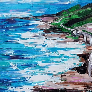 (CreativeWork) Seacliff Bridge Wollongong by Lisa Fahey. arcylic-painting. Shop online at Bluethumb.