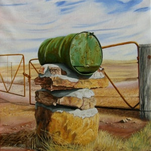 (CreativeWork) Country Mail by Delma White. oil-painting. Shop online at Bluethumb.